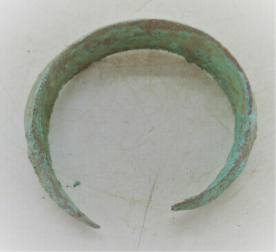 Circa 900 - 1100 Ad Ancient Viking Norse Bronze Bracelet With Serpent Heads