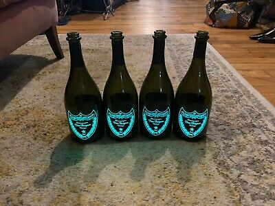 4 DOM PERIGNON Luminous  They LIGHT Green 750 **EMPTY** CHAMPAGNE BOTTLES