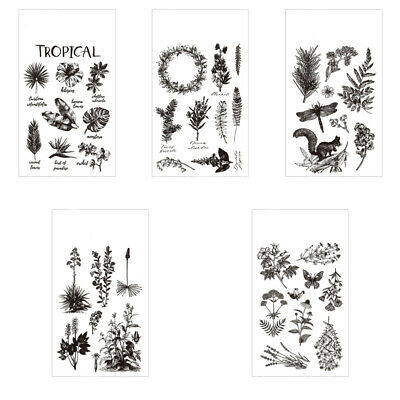 DIY Silicone Clear Rubber Stamps Plants Stencil Embossing Scrapbook Paper Craft