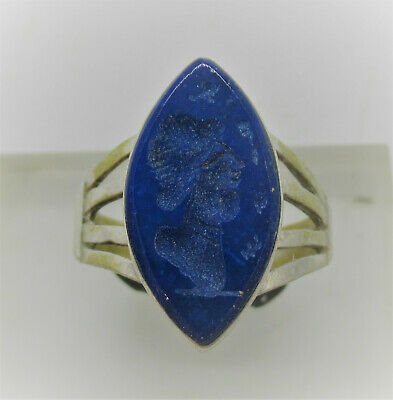 Beautiful Late Medieval Islamic Ottomans Silvered Seal Ring Lapis Stone