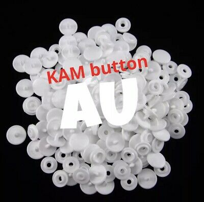 100 Set Size 20 T5 White KAM Plastic Resin Press Studs Snap Fasteners Poppers AU