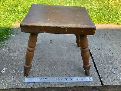Vintage Turned Legged Country Farmhouse Wooden Stool, Original Paint