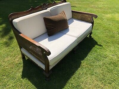 Antique Edwardian Bergere French Style Two Seater Sofa Walnut
