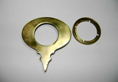 Antique Door Lock Cylinder Mortise Vintage Brass Key Hole Plate Escutcheon Cover