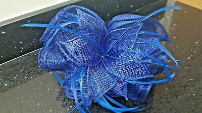 Blue Sinamay + Feather Fascinator, Wedding, Races, Ascot, Mother of Bride NEW