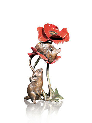 Limited Edition Two Mice with Red Poppy Hot Cast Bronze Michael Simpson 1074