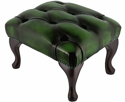 Chesterfield Deep Button Queen Anne Footstool Antique Green Leather
