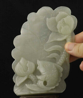 Chinese old natural hetian jade hand-carved statue fish flower pendant 5.1 inch