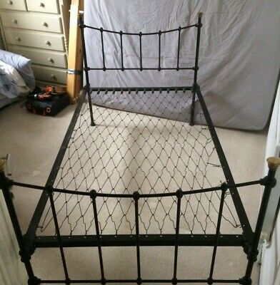 Original Victorian Cast Iron 3/4 Bed With Brass Fittings
