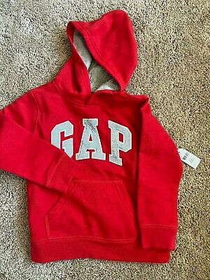 Baby GAP Logo Hoodie Sweatshirt Red Soft Fleece $30 XS 4 5 Boys Girls