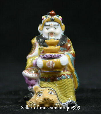 7CM Marked China Wealth God mammon Painted Peking Color porcelain Snuff Bottle
