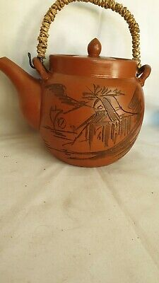 CHINESE vintage ZHISA TEAPOT YIXING CLAY POTTERY SIGNED