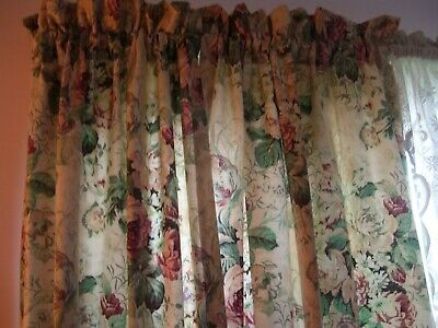 VINTAGE~ 2~ Pr LINNED FLORAL CURTAINS