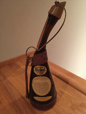 George DICKEL-TENNESSEE Whiskey Powder Horn Leather Harness Souvenir Bottle RARE