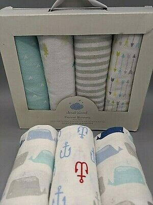 Lot of 7 Cloud Island 100% Cotton Flannel Receiving Baby Blankets, Boy Girl NEW!