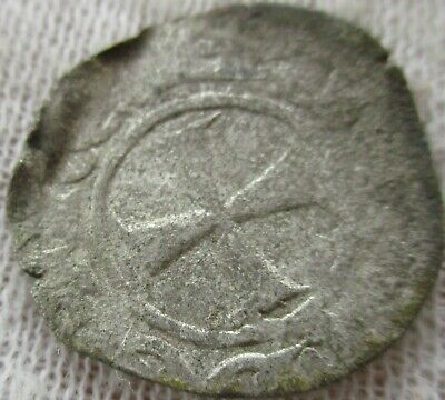 Unresearched Ancient Byzantine Hammered Crusaders Silver Penny
