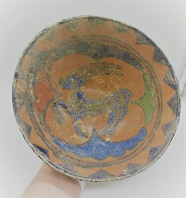Ancient Islamic Byzantine Era Glazed Terracotta Bowl With Animal Motifs