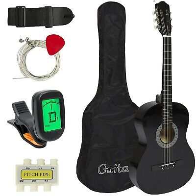 Electric Acoustic Guitar Black 38 Cutaway Design With Guitar Case Strap Strings
