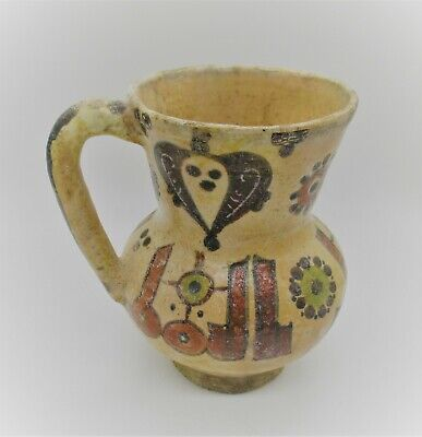 Beuatiful Ancient Islamic Byzantine Era Glazed Terracotta Jug Circa 900Ad