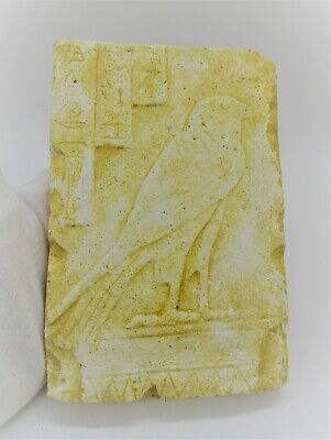 Museum Quality Ancient Egyptian Limestone Stella Depicting Horus As A Falcon
