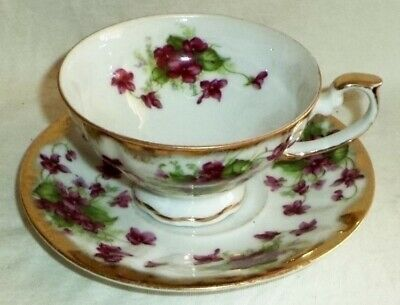 Shafford Footed Cup & Saucer Hand Painted Violets Gold Trim Made in Japan