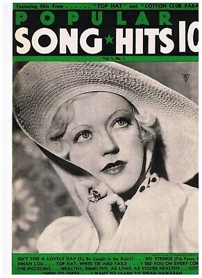 Vintage 1930s Popular Song Hits Marion Davies Top Hat Cotton Club Parade