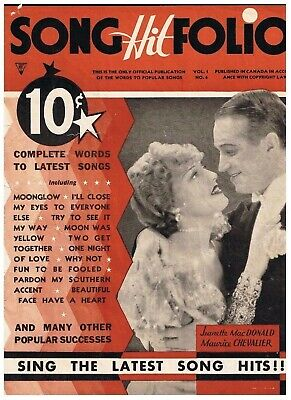 Vintage 1930s Song Hit Folio Jeanette MacDonald Maurice Chevalier Moonglow