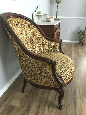 1800's Antique Carved Walnut Chair, Upholstered, Excellent