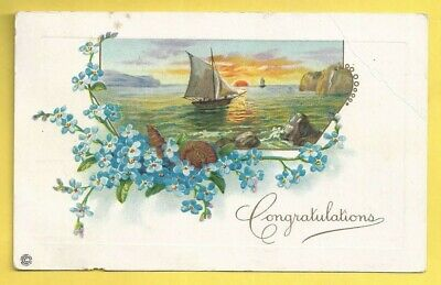 Vintage Greetings Embossed Postcard, Sailing into the Sunset