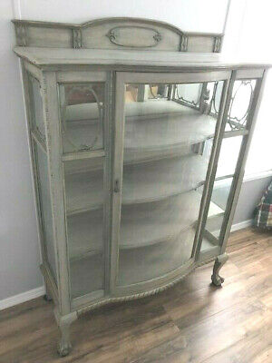 1800's Antique Carved Oak, Curved Glass, Claw Foot China Cabinet, Excellent