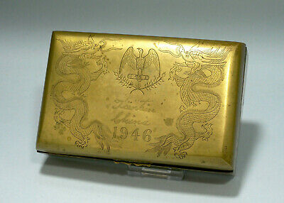 WWII American Eagle Laurel Leaves Chinese Dragons Brass Box 1946 Tientsin China