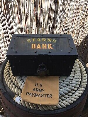 ANTIQUE Riveted Strong Box Bank Vault Cashbox Strongbox