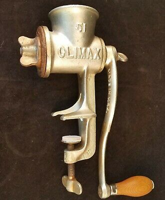 Vintage Climax 51 Meat Grinder Cast Iron Wood Handle Made In USA