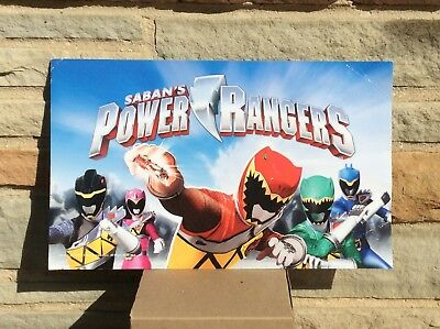 "Saban Power Rangers Toys R Us Sign Double Sided 14"" X 8.5"" Store Display"