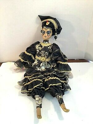 Porcelain Harlequin Jester Doll Black Gold Flexible 18""