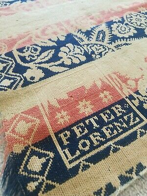 Peter Lorenz Indiana / Germantown Ohio 4 Color Loom Woven Jacquard Coverlet 1834