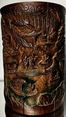 Antique Chinese Qing Signed Bamboo Story Brush Pot Art Carving Asian Antiquities