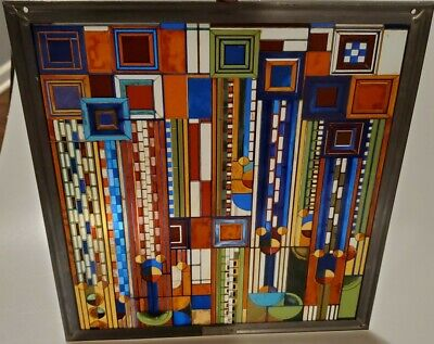 RARE Frank Lloyd Wright Collection~Hanging Stained Glass Window ~Saguaro Forms