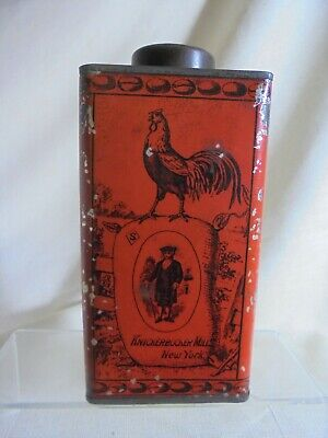 Antique Red Knickerbocker Mills Coffee Tin Great Graphics Aesthetic Movement