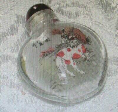 Vintage Chinese Asian Painted Horses Reverse Glass Snuff Perfume Bottle Red Cap