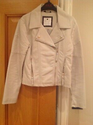 Girls M&S M&CO quality faux leather cream biker style jacket AGE 11 years