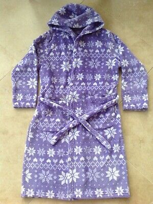 Girls M&S snowflake & heart design hooded dressing gown bath robe AGE 11-12