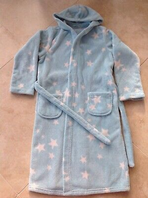 Girls M&S star design hooded dressing gown bath robe AGE 11-12