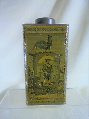 Antique Yellow Knickerbocker Coffee Tin Great Graphics Aesthetic Movement 1885