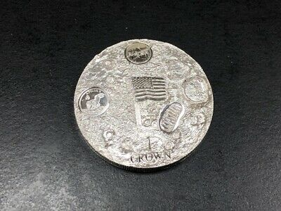 2019 1 Crown Ascension Island 2 oz Silver First Man on the Moon Apollo 11 proof
