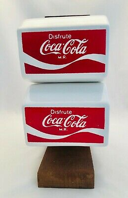 "Coca Cola ""Disfrute"" (Enjoyment) 4 Coffee Cups With Wooden Stand"