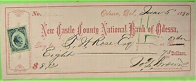Bank Check, New Castle County National Bank of Odessa, Del. 1880