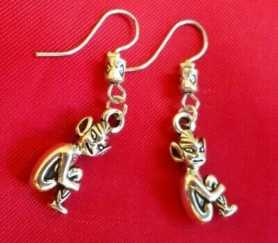 PIXIE earrings with silver tone charms gift Made in UK