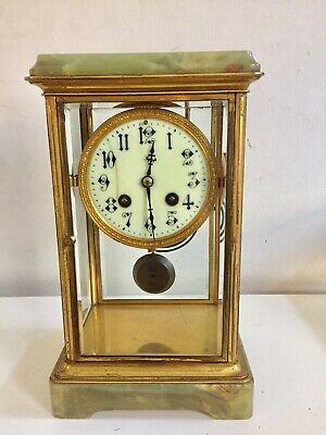 Antique Onyx 4 Glass Clock By AD Moughin