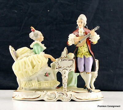 Vintage/Antique Dresden Lace Figurine Man playing Mandolin Woman playing piano
